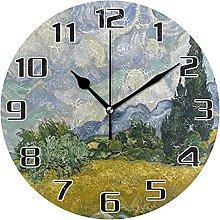 Wheat Field Cypress Van Gogh Wall Clock Silent Non