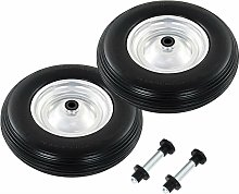 Wheelbarrow Wheels 2 pcs with Axles Solid PU