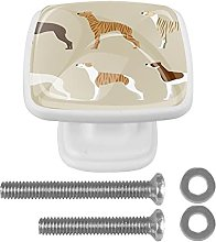 Whippet Dogs-01 4-Pack Crystal Glass Cabinet Knobs
