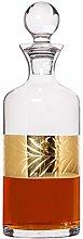 Whisky Decanter 1.5L Gold Leaf Band Embossed Glass