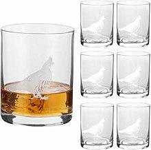 Whisky Glass Set - 6 Etched 400ml Malt Scotch