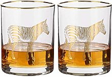 Whisky Glass Set of 2 Gold Zebra 400ml Malt Scotch