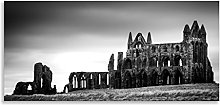 Whitby Abbey Canvas Black White Ruin Landmark
