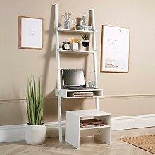 White 3 Tier Ladder Desk Unit Home Office Shelving