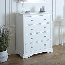 White 5 Drawer Chest of Drawers - Newbury White