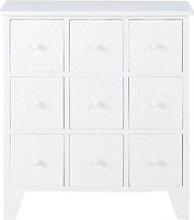 White 9-Drawer Storage Cabinet with Arabesque Print
