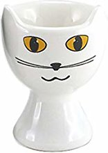 White and Black Cat Face Egg Cup Holders - Set/2