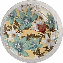 White and Blue Flowers 4PCS Drawer Knobs,Cabinet