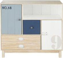 White and Blue Pine 2-Drawer 2-Door Storage