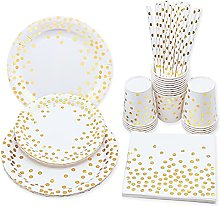 White and Gold Party Tableware Disposable Party