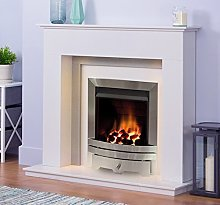 White and Grey Modern Marble Stone Fire Surround