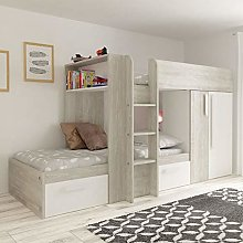White and Oak Kids Storage Bed, Happy Beds Barca