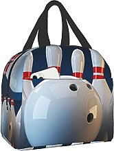 White and Red Bowling Portable Lunch Bag Insulated