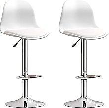 White Bar Stools Set of 2, swivel Modern Clear