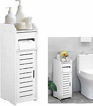 White Bathroom Cabinet, Waterproof Toilet Storage