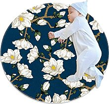 White beautiful flowers, Kids Round Rug Polyester