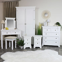 White Bedroom Furniture, Double Wardrobe, Chest of
