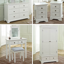 White Bedroom Furniture, Wardrobe, Large Chest of