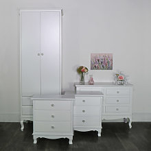 White Bedroom Set, Wardrobe, Chest of Drawers and