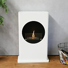White bio fireplace with a round cut