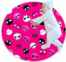White Black And Pink Skulls Circle Rug For Nursery