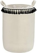White & Black Tasseled Storage Basket