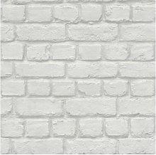 WHITE BRICK EFFECT FEATURE BRICK WALL DESIGN