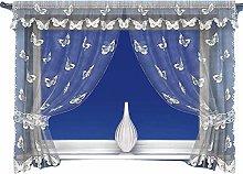 White Butterfly Pattern Window Curtain Net Set in