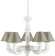White Chandelier with Aged Effect and Beige Shades