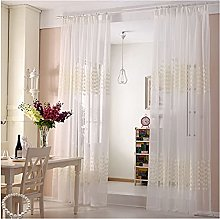 White Classical Solid Voile Sheer Curtain Drapes