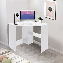 White Computer Corner Desk with Storage Shelf -