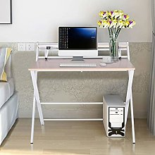 White Computer Desk with Monitor Stand, Large