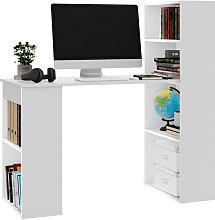 White Computer Table Book Shelves Laptop Study PC