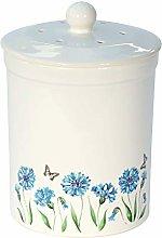 White Cornflower Design Ceramic Compost Caddy -