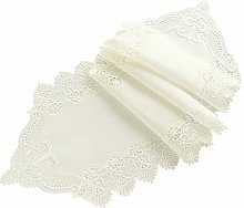 White Cotton and Linen Lace Table Runner, American