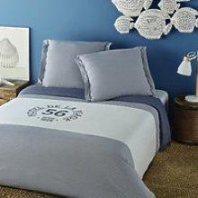 White Cotton Bedding Set with Blue Stripe Print