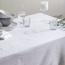 White Cotton Tablecloth, White, One Size