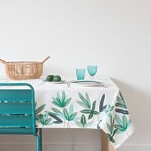 White Cotton Tablecloth with Blue and Green Floral