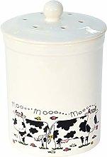 White Cow Design Ceramic Compost Caddy - Ashmore