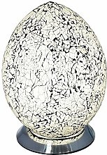 White Crackle Mosaic Glass Vintage Egg Table Lamp