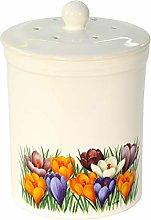 White Crocus Design Ceramic Compost Caddy -