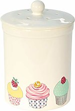 White Cupcake Design Ceramic Compost Caddy -