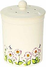 White Daisy Design Ceramic Compost Caddy - Ashmore