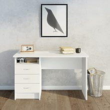 White Desk with 3 Drawers - Function