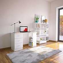 White Desk with Drawers & Storage for Home Office