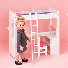 White Doll Bunk Bed with Desk Olivia's World