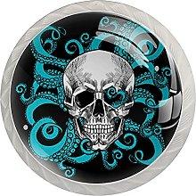 White Drawer Knobs Skull with Octopus Dresser