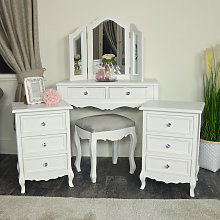 White Dressing Table, Mirror, Stool & Pair Bedside