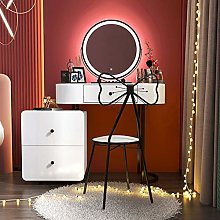 White Dressing Table with Large LED Lights Round