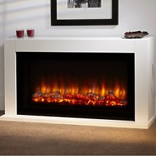 White Electric Wide Screen Fireplace Suite -